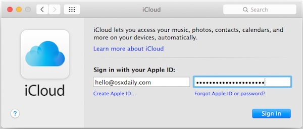 Log in to a new Apple ID on Mac OS X