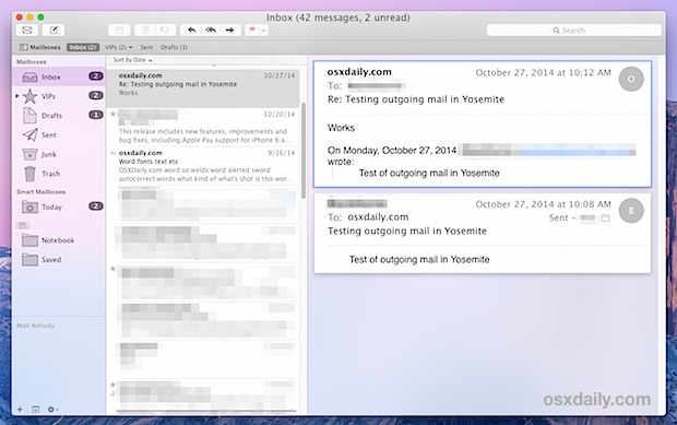 Mail keyboard navigation in Mac OS X