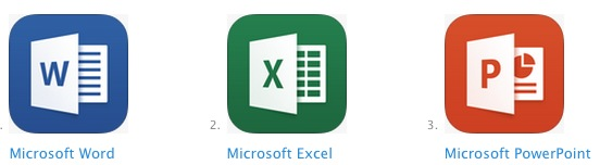 The Microsoft Office suite for iOS