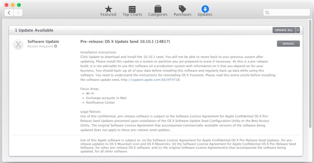 OS X 10.10.1 Update Seed 1