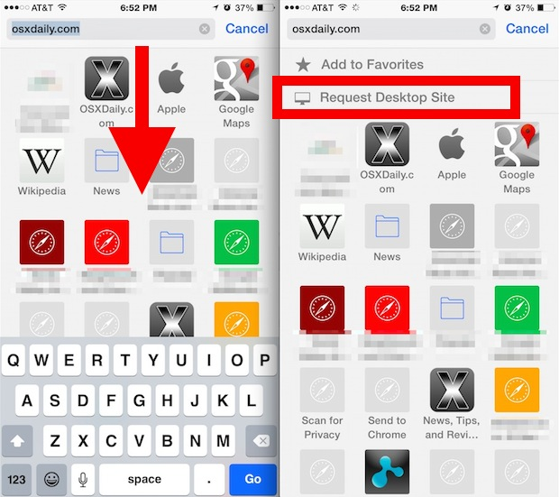 Request a desktop site in Safari for iPhone