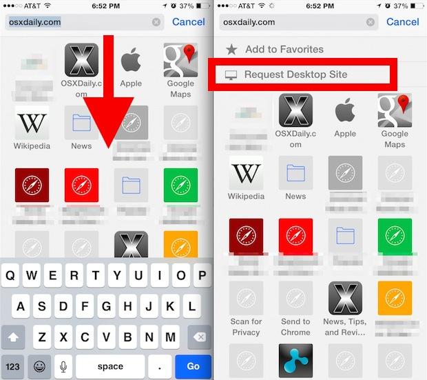 Request a desktop site in Safari for iPhone