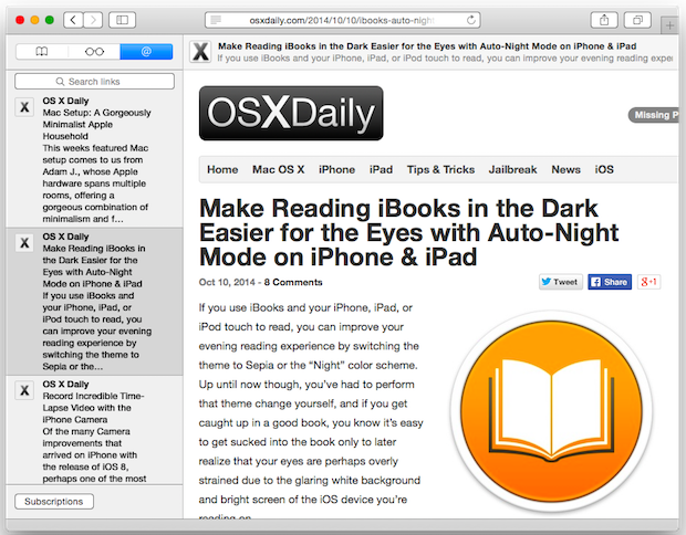 Rss Reader in Safari