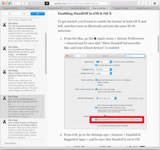 Safari RSS Reader in Mac OS X