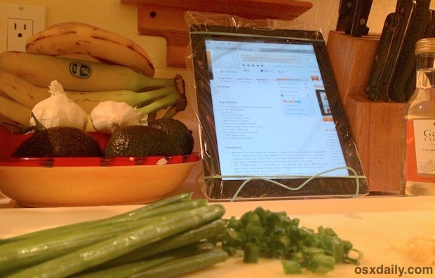 Zip locked iPad in the kitchen is great to protect from spills and splashes