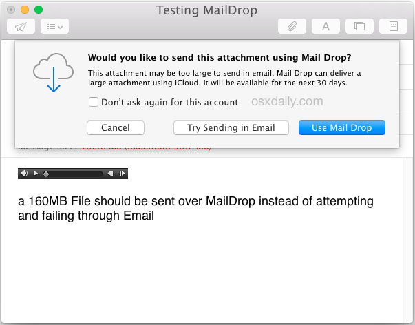 Use Mail Drop to send a large file through Email in Mac OS X