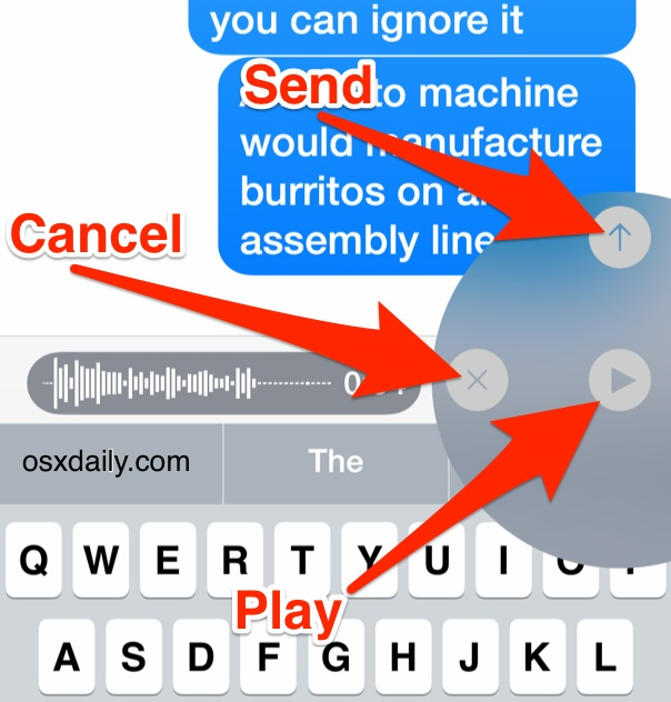 Audio message controls in iOS