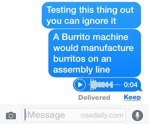 Audio message in iOS