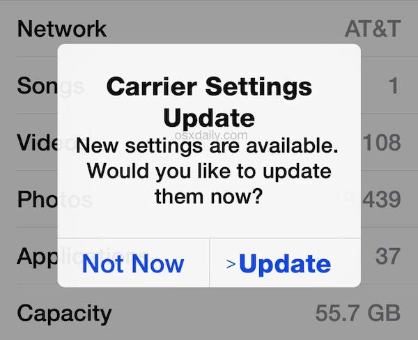 Carrier Settings Update on an iPhone