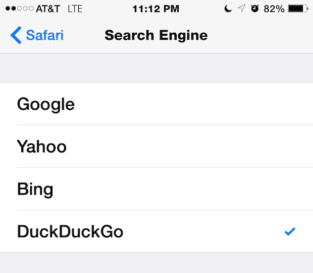Where to change how Safari searches the web and with what Search Engine, including Google, Yahoo, Bing, and DuckDuckGo