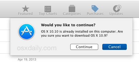 Confirm downloading OS X 10.9 from OS X 10.10