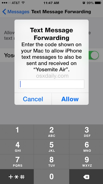 Confirm SMS texting relay to send and receive text messages from a Mac through the iPhone