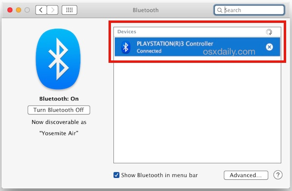 Connect a Playstation 3 controller to Mac OS X