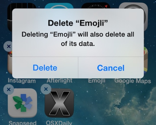 Delete apps from iOS