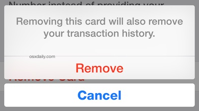 Deleting a credit or debit card from Apple Pay also removes the transaction history stored on the iPhone for that card