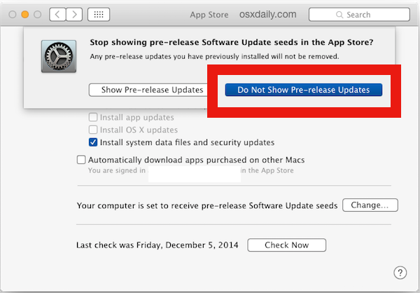 Hide pre-release Beta updates in Mac OS X