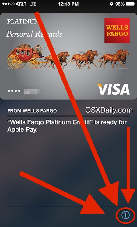 Get info about a card stored in Apple Pay to remove it