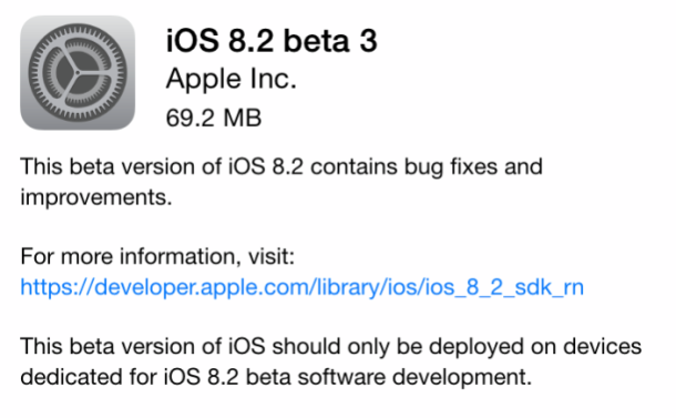 iOS 8.2 beta 3 as an OTA download
