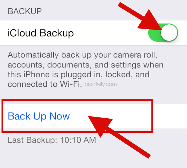 Back up to iCloud in iOS