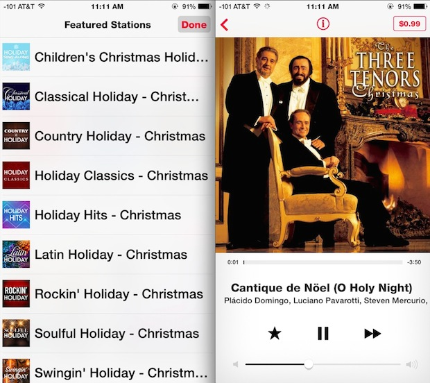 iTunes Radio Holiday Music Stations