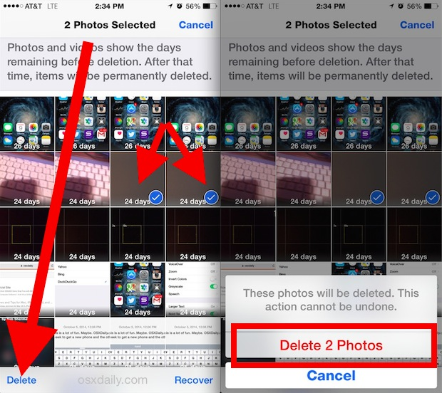 Permanently delete photos in iOS instantly through Albums view
