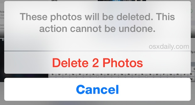 Confirm to permanently delete photos in iOS instantly