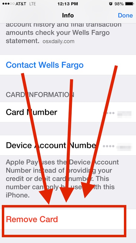 Remove a card from the Apple Pay passbook on iPhone