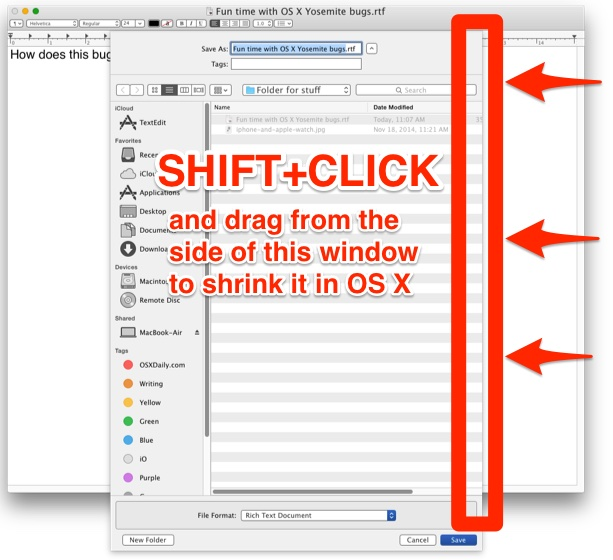 Resize a huge Open and Save dialog window in OS X with a Shift Click and Drag