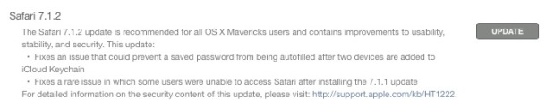 Safari update for OS X