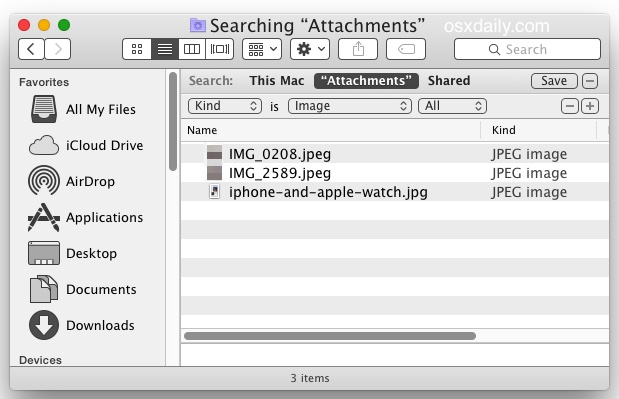Search for attachment types in Messages