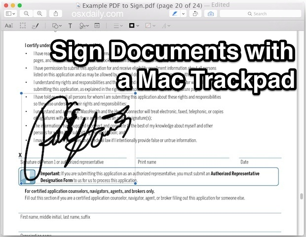 Sign Documents with the Trackpad in Mac OS X Preview app