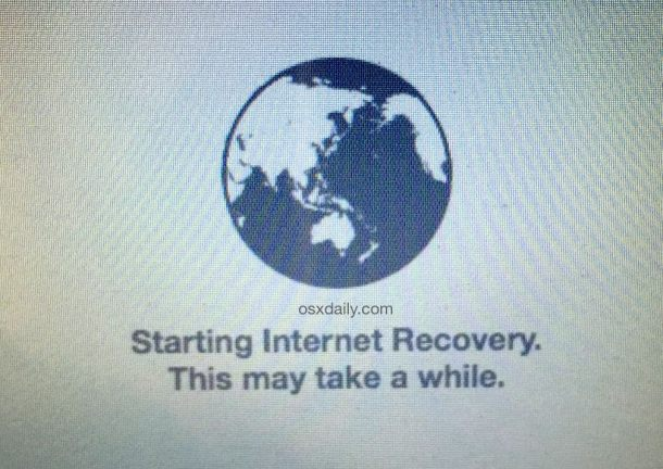Starting OS X Internet Recovery Mode on a Mac to reinstall system software