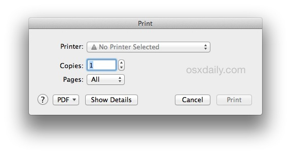The default print window in Mac OS X