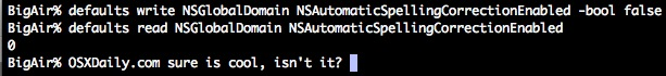 Turning off autocorrect from the command line in OS X and checking whether autocorrect is on or off