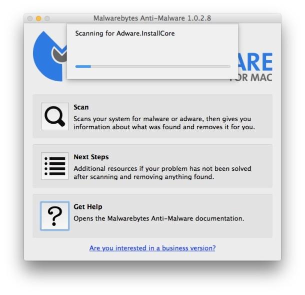 Adware Malware scanner in Mac OS X from MalwareBytes