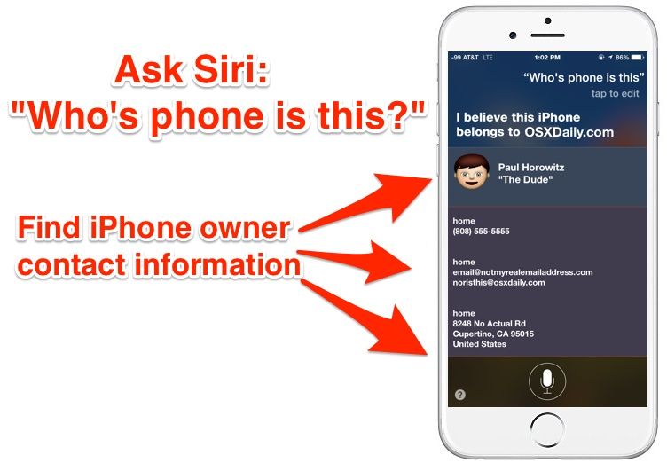 Find iPhone owner contact information with Siri