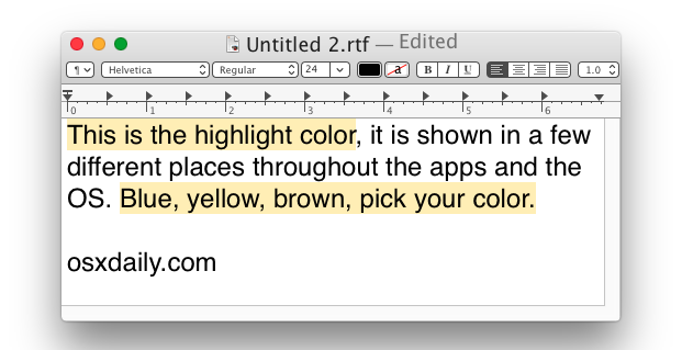 Highlight color in Mac OS X