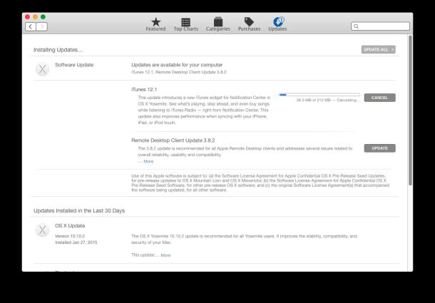 iTunes 12.1, including a widget