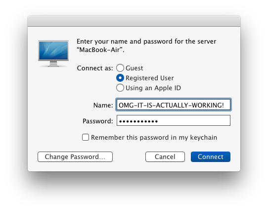 Local server connection login screen in OS X