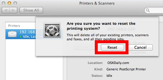 Reset the printing system in OS X and remove all printers and their jobs