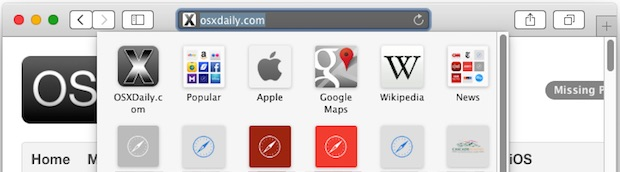 Safari bookmark menu in OS X