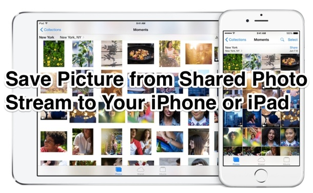 Save an Image from a Photo Stream share to local iPhone or iPad storage
