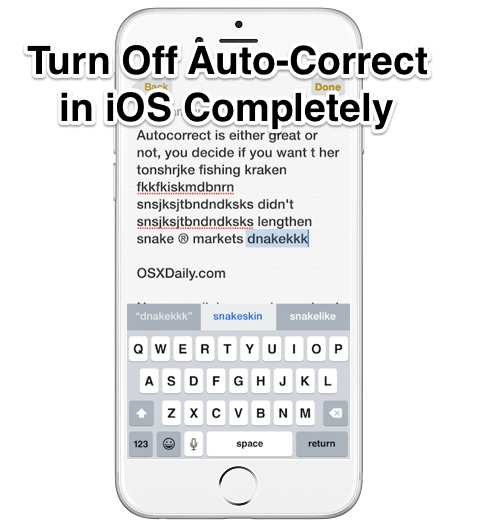 Turn Off Auto-Correct in iOS