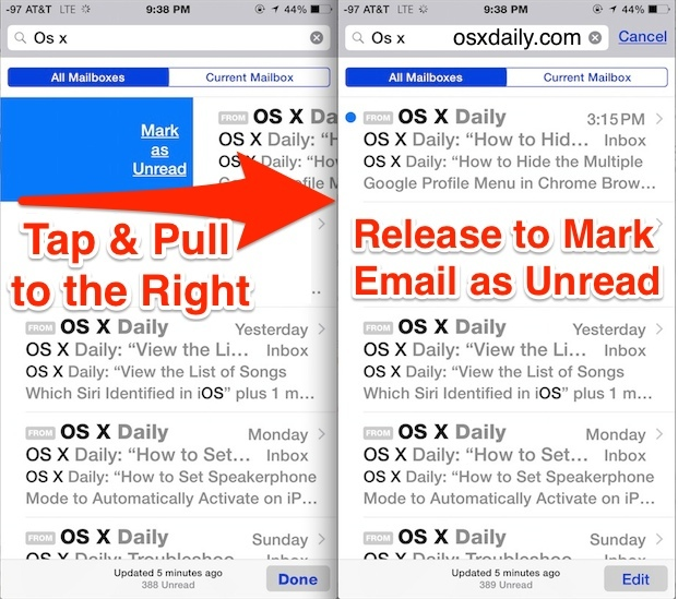 Fast Mark Email as Unread gesture in iOS Mail app