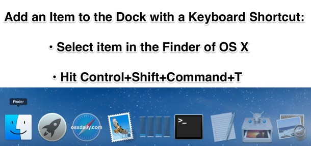 Add to the Dock keyboard shortcut in OS X