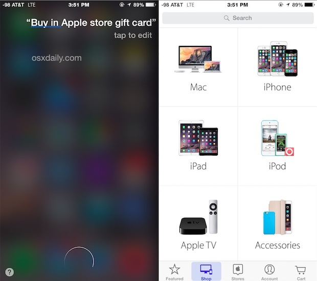 Buy Apple Store gift cards from Siri too, kind of