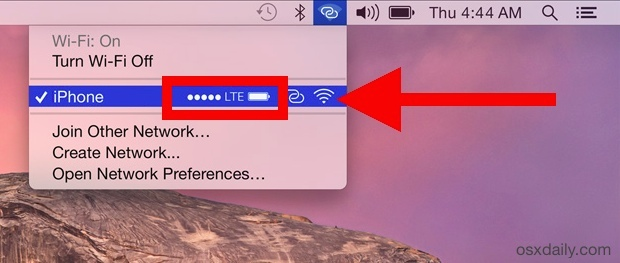 Check the iPhone Signal and Battery Life from the Mac OS X Wi-Fi Menu bar