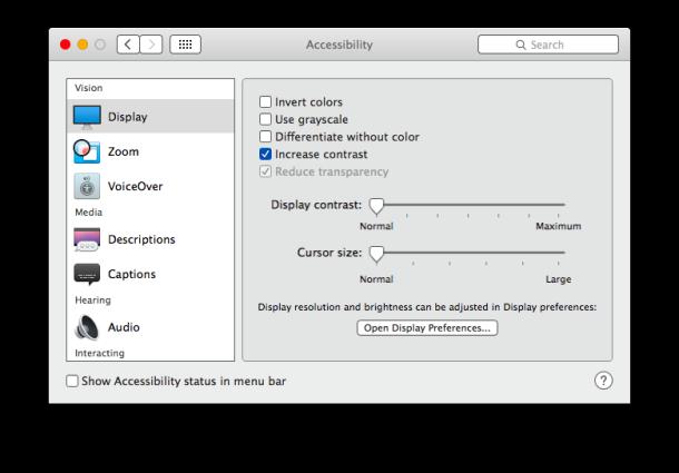Increase Contrast in OS X Yosemite