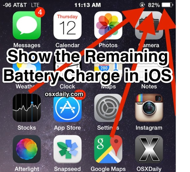 Show the Battery Charge Percentage in iOS