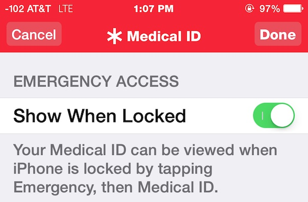 show Medical ID on a lock screen of iPhone
